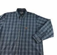 CARHARTT Long Sleeve Plaid Button Down Cotton Dress Shirt Men's Size L Tall Blue
