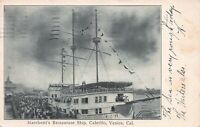Marchetti's Restaurant Ship, Cabrillo, Venice,  CA, Early Postcard, Used in 1906