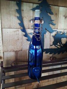 Handmade Blue Wine Bottle Bird Feeder - Garden Decor