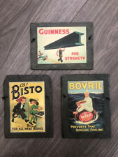 Bisto, Bovril & Guinness Decoupage Hanging Slate Advertising Wall Signs X 3 VGC