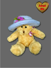 Mini 5in Tan Teddy Bear In Large Purple Flower Hat Stuffed Plush Beanie Animal