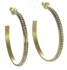 Solid925 SterlingSilver Made In Italy Made With Swarovski Crystal Hoop Earrings'