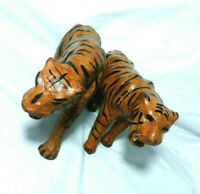 Vintage Paper Mache Tiger Figurines Lot of 2 Made in India Hand Crafted