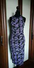 RIVER ISLAND PURPLE FLORAL STRETCH BODYCON MIDI DRESS, SIZE 8 BNWT