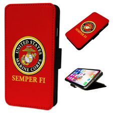 USMC Marines SEMPER FI - Flip Phone Case Wallet Cover - Fits Iphones & Samsung