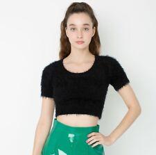 American Apparel Cali Sun & Fun Sz L Black Fuzzy Short Sleeve Cropped Sweater