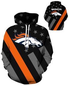 Denver Broncos Hoodie Lightweight Small-XXXL 2XL Unisex Men Women Football