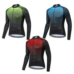 Men's Long Sleeve Cycle Top Coolmax Bike Cycle Jersey Shirt Blue Green Red S-5XL