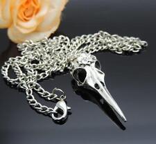 1Pcs Antique Silver Bird Head Skull Skeleton Halloween Necklace Pendant Charms