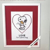 "Weekenders Snoopy Woodstock Completed Cross Stitch W/ Mat ""Love Is A Warm Hug"""