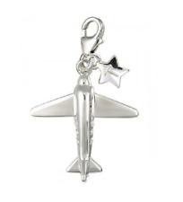 TINGLE Sterling Silver & CZ Aeroplane Charm - Gift Bag & Box SCH1 (£30)
