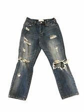 Pacsun Straight Leg Mom Jeans Blue Medium Wash Distressed Button Fly Size 24x 23