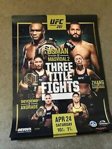 "UFC 261 Three Title Official 18"" X 24"" Fight Poster Usman Vs Masvidal 2"