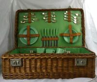 Vintage Abercrombie & Fitch Wicker Picnic Basket Complete with 2 Handles 1930's