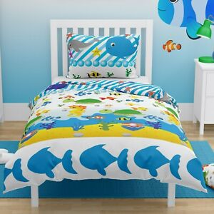 SEA Toddler Bedding Set Junior Duvet Cover & Pillowcase Girls Boys 150x120 cm