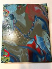 Red Blue Gray Abstract Original Painting Acrylic Hand Painted Art