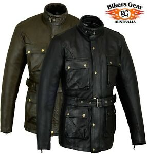 Mens CE armoured Motorcycle Motorbike Biker cafe racer Waxed Leather Jacket
