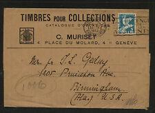 Switzeralnd  Muriset stamp dealer ad wrapper  to US  1932     MS0708