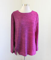 Clara Sun Woo Pink Purple Ombre Heather Knit Blouse Light Sweater Top Size S