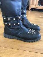 Tripp Nyc Black Studded Boots CRUSH MB100 Side Zip Skull Crossbones Size 11 Goth