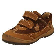 Boys Startrite Tan Leather Riptape Strap Shoes UK Infant 4.5 F Fit TRAIL