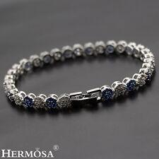"Graceful White CZ & Blue Sapphire Hermosa 925 Sterling Silver Girls Bracelets 7"""