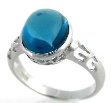 925 Sterling Silver 12x 10 Cabochon Blue Topaz Ring size 7