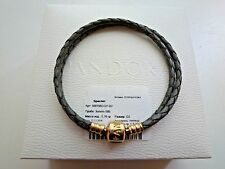 "Pandora Braided Double Leather Bracelet Gold Clasp 38 cm/15 "" Grey Rare with tag"