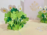 Origami Pop Cards -White Daisy & Clover  3D Pop Up Greeting Card Birthday