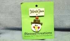 """Ceramic Christmas Snowman Face Pin by Blessed Kreations, """"Celebrate Jesus"""""""