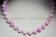 """6/8/10/12MM Natural Pink Multi-Color Kunzite Round Gems Beads Necklaces 18"""""""