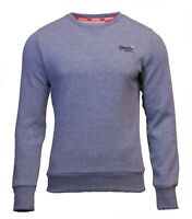 Superdry Mens New Orange Label Crew Neck Sweatshirt Overhead Long Sleeve Blue
