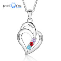 Personalized Birthstones Necklace Women Jewelry Gift Engrave Name Pendant Chain