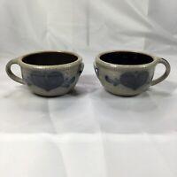 "PAIR of Rockdale Union Stoneware Pottery Soup Bowls Blue White Salt Glaze 5"""