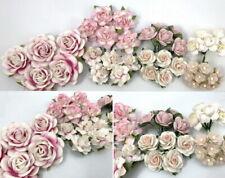 50 Pink Paper Flower Decoration Scrapbook Card Wedding Roses headpiece R21-32