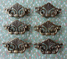 """Set of 6 New Continental Brass Antique Brass Wheat Drawer Swing Pulls 3"""" Centers"""