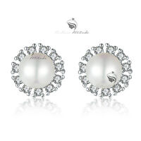 18k white gold GF made with swarovski crystal stud wedding pearl earrings SMALL