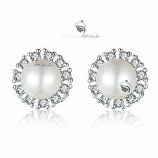 18k white gold GF made with swarovski crystal stud wedding pearl earrings