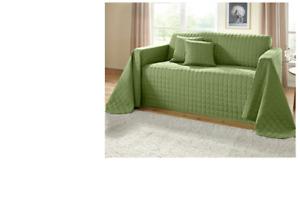 WEBSCHATZ Überwurf Sofaüberwurf Bettüberwurf Tagesdecke Grün Steppdecke