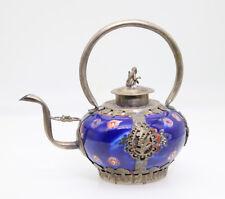 Chinese collectible Tibetan silver Cloisonne Enamel Lifting Handle Teapots H29