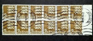 Denmark Coat Of Arms 9kr Block Of 12 With Right Margin - 12v Used