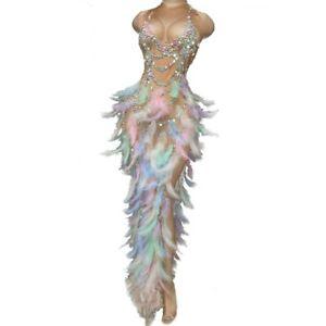 Women Sexy Feather Rhinestone High Slit Dress Sleeveless Nightclub Party Dresses