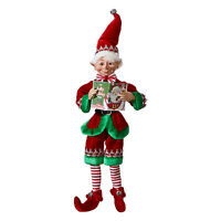 "RAZ Imports 16"" Posable Green Story Shelf Elf Retro Vntg Christmas Doll Decor"
