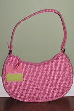Vera Bradley PINK CHECK SILK CRESCENT HOBO Limited Edition Petite Purse NWT
