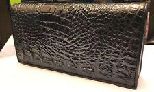 Genuine Crocodile Wallets Alligator Skin Leather Long Bifold Men's Purses Black
