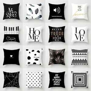 Black & White Geometric Sofa Throw Cover Pillow Cushion Square Case Home Decor