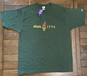 Vintage NWT 1996 Olympics Embroidered T Shirt 1990s Champion XL 90s NOS Green 96