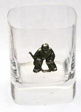 Ice Hockey Goalie Pewter Emblem Pair of Crystal Glasses Presentation Boxed Gift