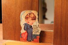 Circa 1930's Antique Valentine's Day Card Die Cut Little Sailor Boy