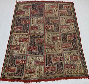 ca.1870 Old Antique Handmade Caucasian Zilleh Silleh rug 9,1x6,8 Ft